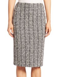Alexander Mcqueen Tweed Pencil Skirt Black White Ivory