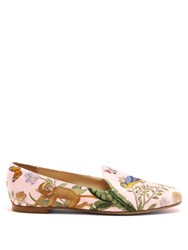 Aquazzura For De Gournay Embroidered Loafers Pink Multi