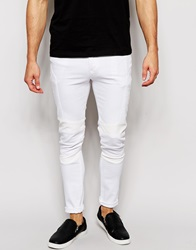 Asos Super Skinny Jeans With Biker Details In White