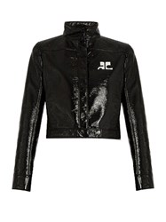 Courreges Faux Patent Leather Bomber Jacket Black