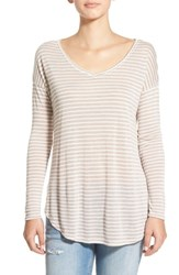Junior Women's Bp. Stripe V Neck Long Sleeve Tee Brown Bark Stripe Loose