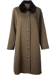 Chanel Vintage Fur Collar Coat Brown