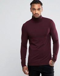 Asos Extreme Muscle Long Sleeve T Shirt With Roll Neck In Oxblood Oxblood Red