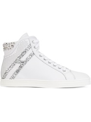 Hogan Rebel Studded Hi Top Lace Up Sneakers White