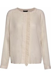 Belstaff Ruffle Trimmed Cotton Gauze Blouse Off White Off White