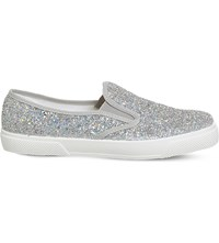Office Kicker Glitter Embossed Skate Shoes Silver Holographic