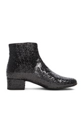 Saint Laurent Babies Glitter Booties In Black Metallics Black Metallics