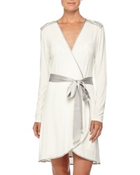 Fleurt Autumn Bride Lace Short Robe Ivory Silver