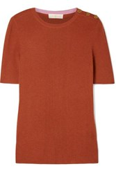 Tory Burch Taylor Ribbed Cashmere Sweater Brick