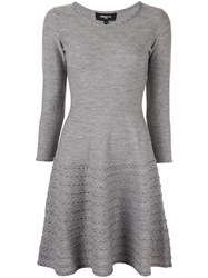 Paule Ka Textured Detail Knitted Dress Grey