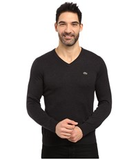 Lacoste Segment 1 Cotton Jersey V Neck Sweater Panther Black Men's Sweater Multi