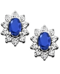 Macy's 10K White Gold Earrings Sapphire 1 1 3 Ct. T.W. And Diamond Accent Stud Earrings