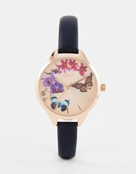 Oasis Butterfly Print Dial Navy Leather Watch Black