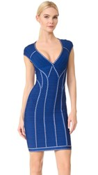 Herve Leger Silvia V Neck Dress Blue Sapphire