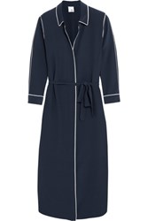 Iris And Ink Zanna Silk Shirt Dress Navy