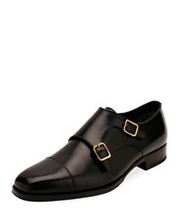 Tom Ford Double Monk Strap Leather Loafers Black