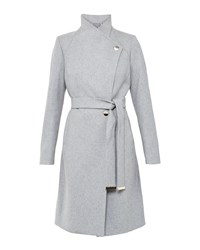Ted Baker Aurore Long Wrap Coat Grey
