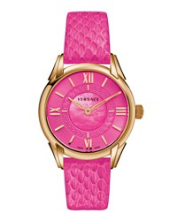 Versace Dafne Round Watch W Leather Strap Golden Pink