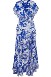 Camilla Embellished Printed Silk Crepe De Chine Wrap Maxi Dress Blue