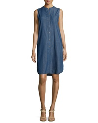 Eileen Fisher Sleeveless Button Front Denim Dress