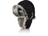 Crown Cap Fur Trimmed Down Filled Aviator Hat Black