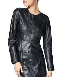 Ramy Brook Brodie Hook Front Leather Peplum Jacket Black