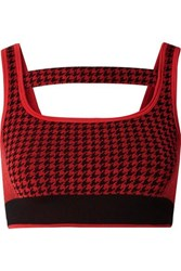 Nagnata The Woolmark Company Cutout Houndstooth Technical Stretch Knit Sports Bra Claret