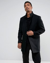 Selected Homme Funnel Neck Wool Mix Overcoat Black Structure