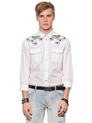 Richmond Cards Embellished Shirting Canvas Shirt White Black
