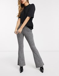 Topshop Soft Rib Flared Trousers In Charcoal Grey