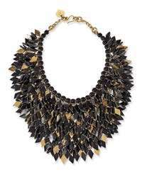 Ashley Pittman Dark Horn Layered Bib Necklace Brown