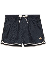 Gucci Gg Nylon Swim Short With Bee Blue