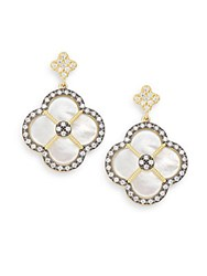 Freida Rothman Mother Of Pearl And 14K Yellow Gold Vermeil Clover Drop Earrings