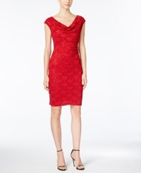 Connected Sleeveless Sequined Lace Dress Red