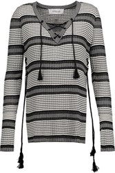 Derek Lam 10 Crosby By Lace Up Metallic Striped Silk Blend Sweater Ivory