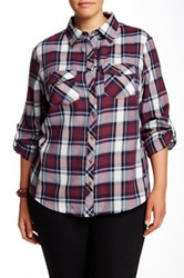 Sandra Ingrish Long Sleeve Plaid Shirt Plus Size Purple