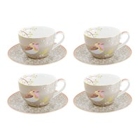 Pip Studio Early Bird Cappuccino Cup And Saucer Set Of 4 Khaki