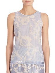 Escada Pleated Floral Shell Open Blue