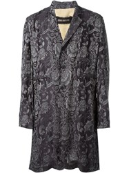 Uma Wang Jacquard Effect Long 'Eduard' Coat Brown