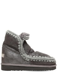 Mou 40Mm Eskimo 18 Metallic Shearling Boots Grey