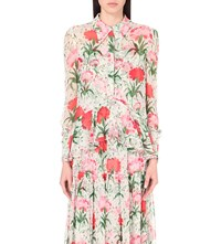 Erdem Liya Floral Print Silk Shirt White Red