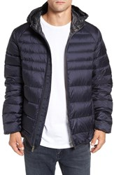 Psycho Bunny Men's 'Wales' Water Resistant Down Puffer Jacket Navy Charcoal
