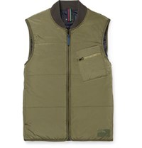 Paul Smith Ps By Quilted Shell Gilet Green
