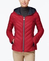 Nautica Reversible Hooded Packable Puffer Coat Only At Macy's Red Marine