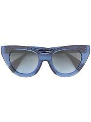 Oscar De La Renta Holly Large Cat Eye Sunglasses Blue