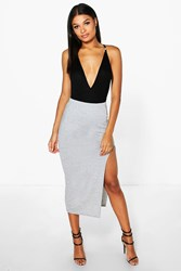 Boohoo Side Split Tube Midi Skirt Grey Marl