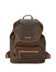 Calvin Klein Logo Leather Backpack Brown