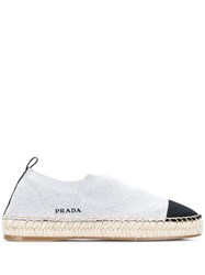 Prada Knitted Style Espadrilles Silver
