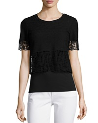 Elie Tahari North Cropped Blouse W Lace Trim