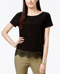 Cece By Cynthia Steffe Scalloped Lace Trim T Shirt Rich Black